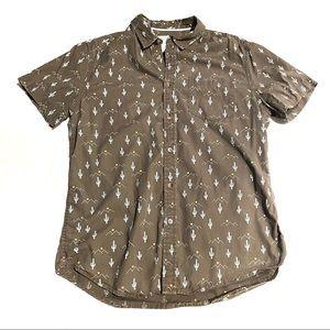 Cactus Menswear Print Button Down  Shirt